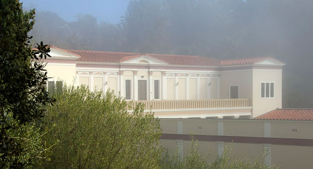 The Getty Villa Museum building in fog