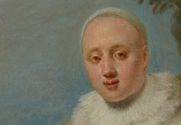 Detail of Pierrot in The Italian Comedians in a Park / Antoine Watteau