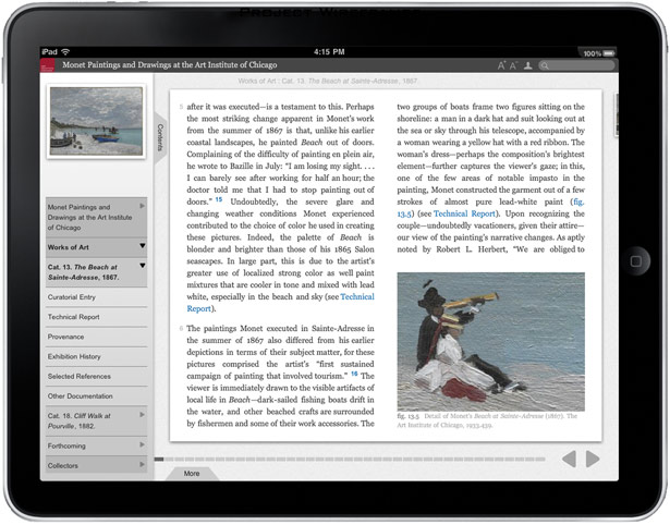 iPad screen capture of the Art Institute of Chicago's online scholarly catalogue Monet Paintings and Drawings at the Art Institute of Chicago