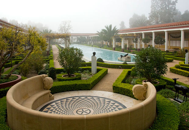 The Outer Peristyle at the Getty Villa in dense fog