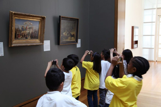 Students from Hooper Avenue Elementary School participate in a scavenger hunt at the Getty Center organized by John Divola