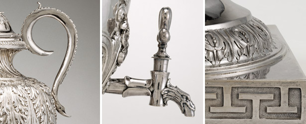 Handle, spigot, and Greek key design on base of Silver fountain / Jean Leroy