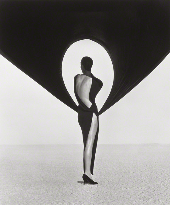 Versace Dress, Back View, El Mirage / Herb Ritts
