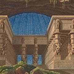 Detail from Opera (Set) Decorations: The Magic Flute, Act I, Scene I / Carl Friedrich Thiele after Karl Friedrich Schinkel