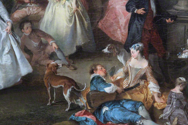 Dogs of the French elite in Nicolas Lancret's painting Dance Before a Fountain