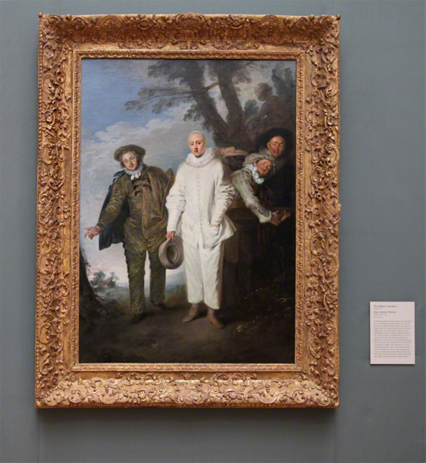 Antoine Watteau's The Italian Comedians as installed in Gallery S202 at the Getty Center