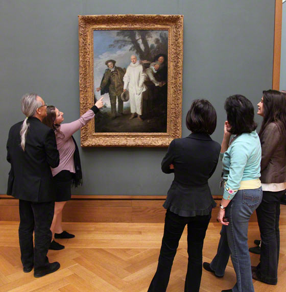J. Paul Getty Museum gallery teachers with Antoine Watteau's newly installed The Italian Comedians