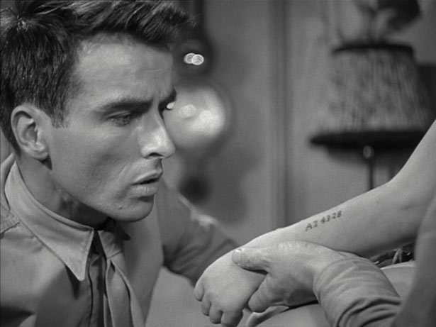 Karel shows his concentration camp tattoo in a still from The Search by Fred Zinnemann