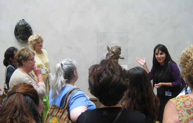 Teachers join Getty Museum education specialist Veronica Alvarez to discuss Jean-Joseph Carriès's Self-Portrait as Midas