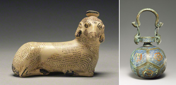 Two ancient aryballoi (perfume bottles)