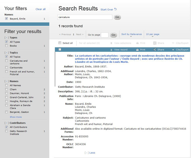 Screen capture of the Getty Research Portal, showing a detailed result