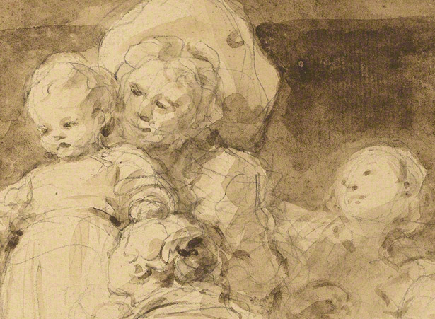 Detail of underdrawing and washes of figural group in Making Fritters (Les Beignets) / Jean-Honoré Fragonard