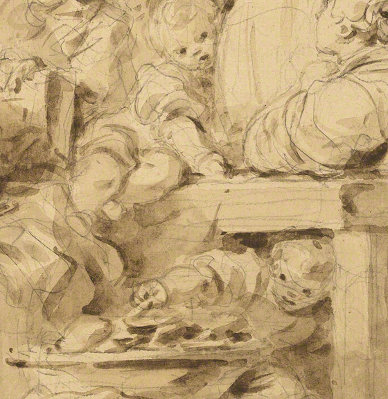 Detail of babies and beignets in Making Fritters (Les Beignets) / Jean-Honore Fragonard
