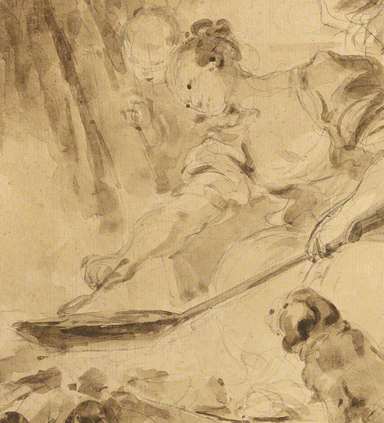Detail of cooking action and spaniel dog in Making Fritters (Les Beignets) / Jean-Honore Fragonard