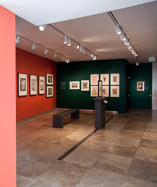 View into the gallery of the exhibition The Getty Research Institute: Recent Print Acquisitions at the Getty Center