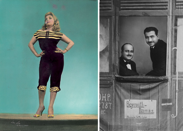 Woman in stylish outfit, screen test for Rollei films in Cairo, 1957 and Albert Khayat posing with a friend in Lebanon, 1930