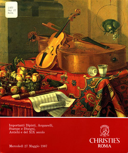 Cover of May 27, 1987, Christie&#039;s auction catalog featuring Musical Instruments and Objects attributed to Crisoforo Munari