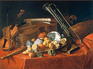 Still Life with Musical Instruments, Porcelain, and Citrus Fruits / Cristoforo Munari
