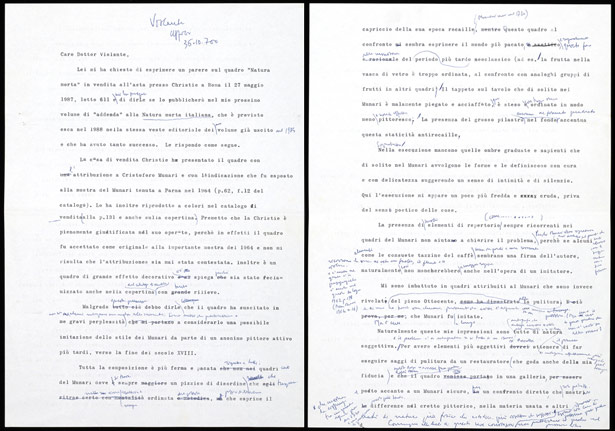 Draft letter from Luigi Salerno to Dottor Violante (recto and verso) between 1987 and 1988