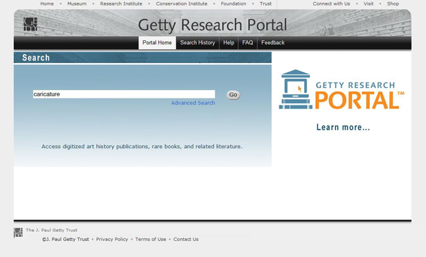 Screen capture of the Getty Research Portal, showing how to enter a query
