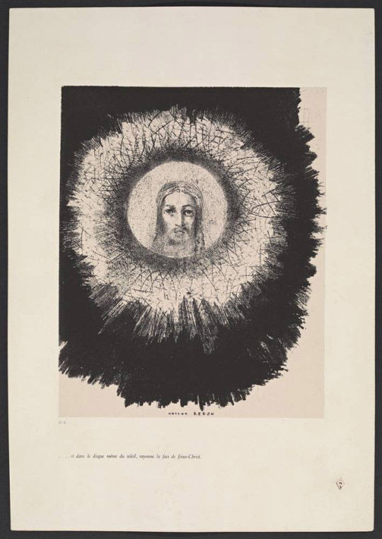 And in the same disc of the sun shines the face of Jesus Christ / Odilon Redon