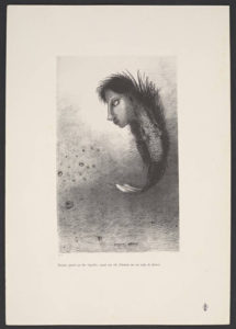 Then appears a singular being having a man's head atop the body of a fish / Odilon Redon