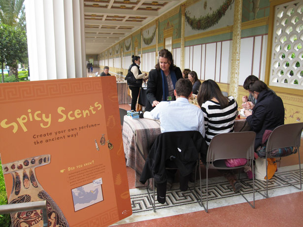 Visitors make perfumes inspired by ancient recipes at the Getty Villa