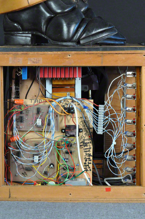 Right side of the base of Tap Dancer by Stephan van Huene showing the original circuit boards and wiring