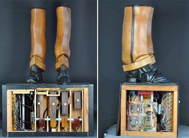 Tap Dancer by Stephan van Huene, with base panels removed to reveal components inside base