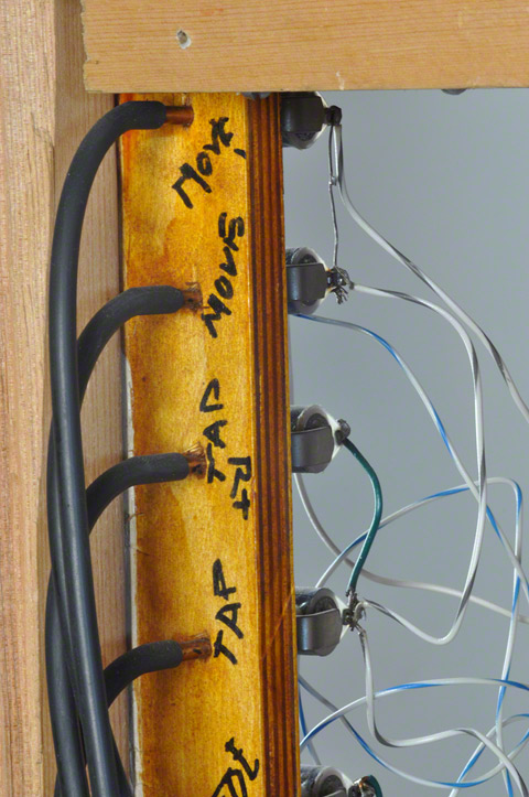 Detail of the piping and wiring of Stephan van Huene's Tap Dancer