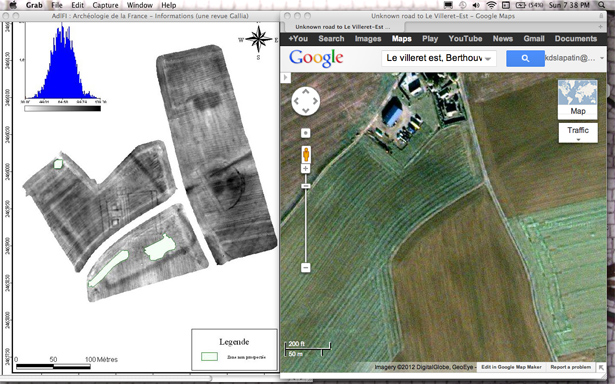 Electrical resistivity image of the field at Villeret and a Google satellite image