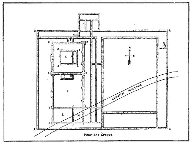 Plan of the Gallo-Roman sanctuary that once stood in Berthouville, France