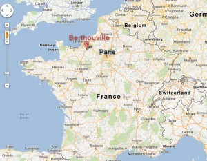 Map of France showing the relative locations of Paris and Berthouville