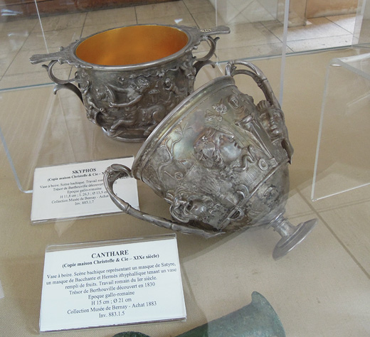 Nineteenth-century replicas of two cups from the Berthouville Treasure in the Bernay Museum