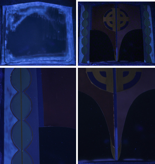 Four images of Judy Chicago's Car Hood under ultraviolet (UV) radiation