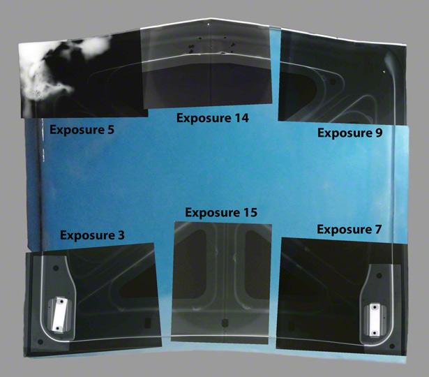 Diagram of six X-radiographs over a photo of the reverse side of Judy Chicago's Car Hood