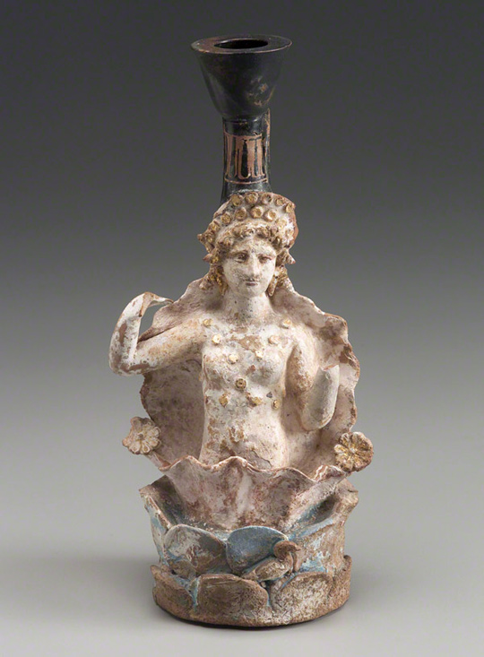 Oil Jar in the Shape of Aphrodite at Her Birth / Greek