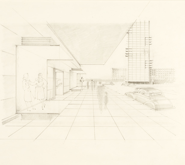 Pedestrian View of Sears Street Elevation / Karl Schneider