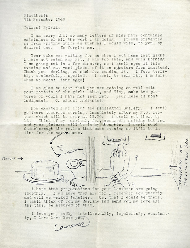 Typewritten letter from Lawrence Alloway to Sylvia Sleigh, November 9, 1949
