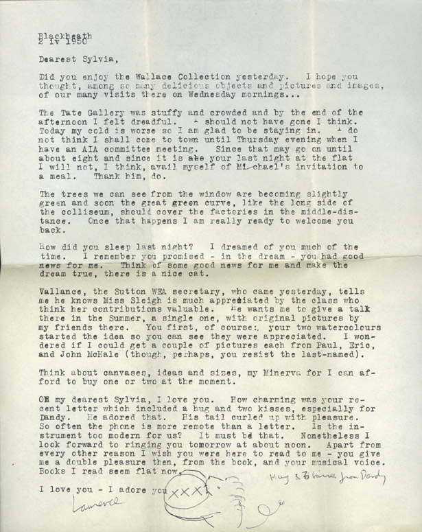 Typewritten letter from Lawrence Alloway to Sylvia Sleigh, April 2, 1950