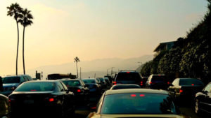 Evening traffic along Pacific Coast Highway in Malibu, near the Getty Villa
