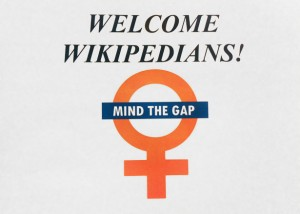 Sign for an edit-a-thon at the Wikimedia Foundation in San Francisco reading Welcome Wikipedians: Mind the Gap