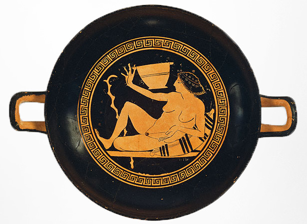 View of the inside of a kylix (stemmed wine cup) by the painter Onesimos, Athens, about 500 B.C. 