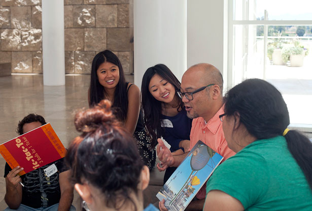 Multicultural Undergraduate Interns at an Art Summit career session with Clement Hanami of the Japanese American Museum