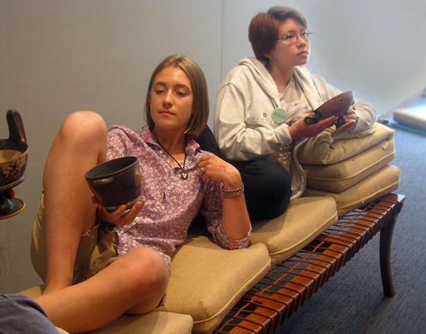 Latin students at the Getty Villa recreate the manner of reclining to dine during the Greek symposion.