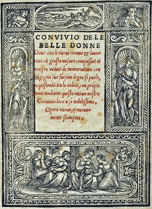 Facsimile of the title page from Nicolo Zoppino's book Convivio delle belle bonne