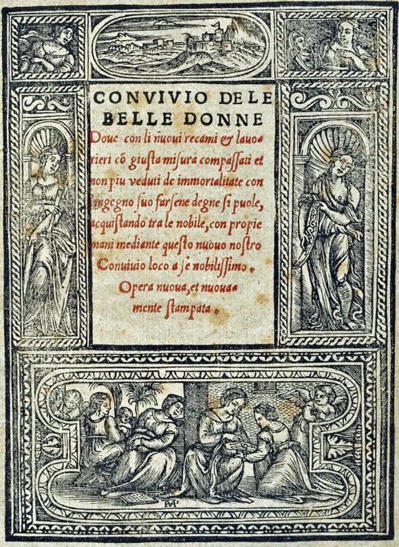 Facsimile of the title page from Nicolo Zoppino's book Convivio delle belle bonne