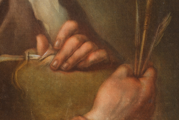 Detail of hands in Portrait of Edouard Dagoty, Inventor of Color Printing / Carlo Lasinio
