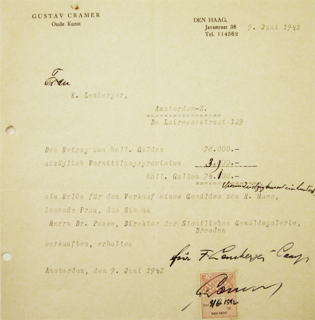 Letter from Gustav Cramer to the wife of Ernst Lemberger - June 9, 1942