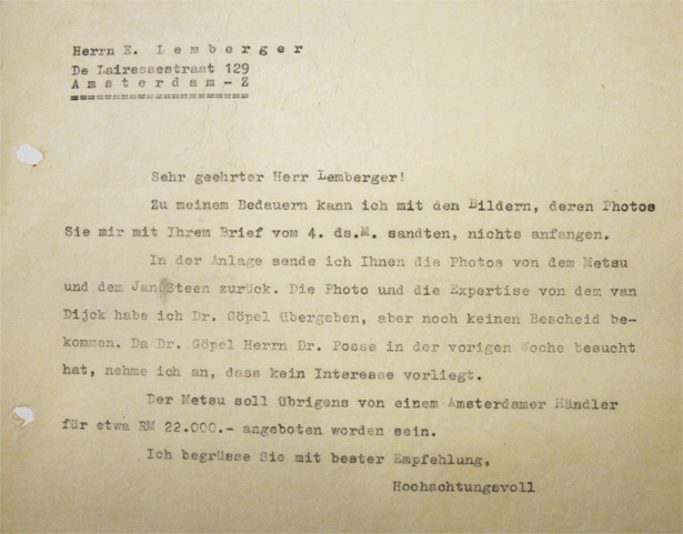 Letter from Gustav Cramer to Ernst Lemberger - June 30, 1942
